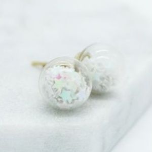 Glass Star Confetti Orb Stud Earrings White